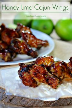 Citrus and spicy, with a hint of honey sweetness, these Cajun Honey Lime Chicken Wings may change the way you flavor your wings forever. The wings are oven baked, and basted with an amazing sauce that will make these wings a crowd favorite. Turkey Recipes, Meat Recipes, Asian Recipes, Appetizer Recipes, Cooking Recipes, Appetizers, Dinner Recipes, Asian Chicken Wings, Hamburgers