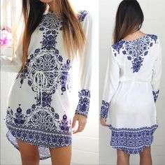 """Blue & White Long Shirt / Short Dress w/ Rope Belt Blue & White Long Shirt / Short Dress w/ Rope Belt. Dress is 30"""" long, 34"""" in the bust, and 36"""" in the waist. Dresses Mini"""