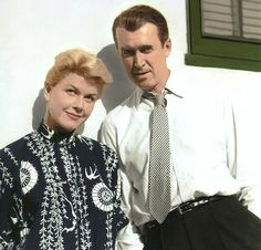 "Jimmy Stewart and Doris Day on the set of ""The Man Who Knew Too Much"", one of the more serious roles Doris played..."