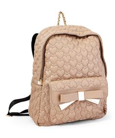 Loving this Betsey Johnson Spice   Gold Quilted Heart Bow-Tie Backpack on c68c14853af3a