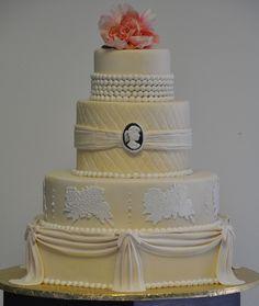 Example of different fondant work. Beautiful Cakes, Amazing Cakes, Fresh Flower Cake, Fresh Flowers, Victorian Wedding Cakes, Cameo Cake, Wedding Entrees, Samantha Wedding, Luxury Cake