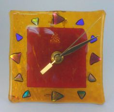 Hands of Time in Apricot - glass clock handmade with fused and dichroic  glass by Jan
