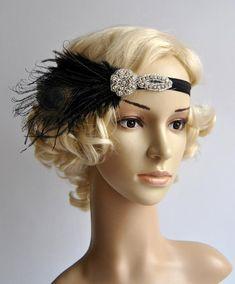 Black Flapper Feather Headband,The Great Gatsby headpiece, 1920s Flapper rhinestone Headband, Vintage Inspired,Feather, Art Deco headband