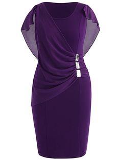 Plus Size Rhinestone Embellished Capelet Dress - Vestidos African Fashion Dresses, Fashion Outfits, Capelet Dress, Classy Dress, Plus Size Dresses, Women's Dresses, Dance Dresses, Wedding Dresses, Elegant Dresses