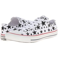 Converse Chuck Taylor All Star Multi Star Print Ox Shoes, White ($36) ❤ liked on Polyvore featuring shoes, sneakers, white, white low tops, star shoes, lace up shoes, white shoes and lacing sneakers