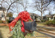 fir and deco mesh Christmas mailbox decor