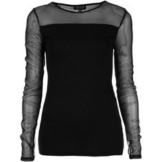 Long Sleeve Mesh Insert Tee ($32) ❤ liked on Polyvore featuring tops, t-shirts, shirts, black, black long sleeve top, black top, long sleeve tee, long sleeve mesh top and black mesh top