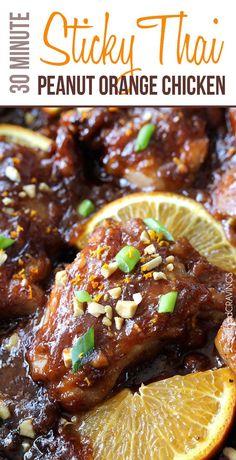 Sticky Thai Peanut Orange Chicken (30 Minutes) | http://www.carlsbadcravings.com/sticky-thai-peanut-orange-chicken-30-minutes/