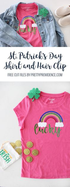 Patrick's Day shirt and shamrock hair clip DIY with free cut files and step by step tutorial! Patrick's Day shirt and shamrock hair clip DIY! Plain Shirts, Cheap T Shirts, St Patrick's Day Outfit, Outfit Of The Day, Cool Haircuts, Cool Hairstyles, Diy Haircut, Clip Free, Diy Step By Step