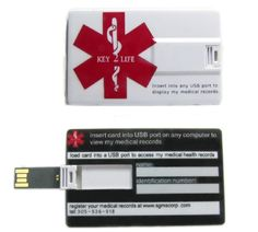 USB Medical ID Wallet Card. Kind-of pricey, but, what a great thing to have!
