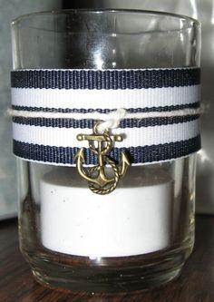 Nautical tealight candles for reception :  wedding beach candles decor ivory nautical navy reception Votive Candles