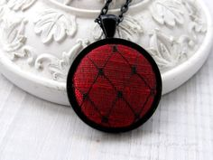 Fabric Pendant Necklace Red Silk and Black Bird by SweetCamiJayne