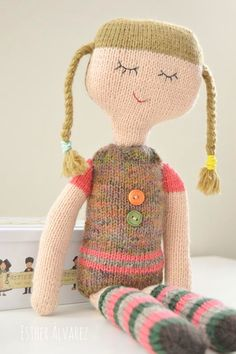 Knitting Dolls Clothes, Knitted Dolls, Crochet Humor, Crochet Toys, Pretty Dolls, Beautiful Dolls, Reindeer Noses, Sock Toys, Pink Doll
