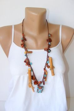 art design necklace beaded necklacewoodworknatural by seno on Etsy, $35.00