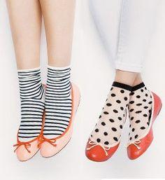 Color flats + cute socks x