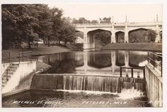 Petoskey Michigan, MITCHELL STREET BRIDGE & RIVER DAM, ca. 1940s RPPC Postcard