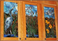 kitchen cupboard trio - lake scene with heron and flowers