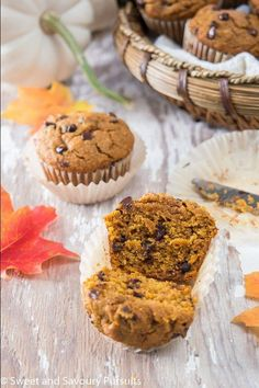 Make a batch of these easy Whole Wheat Pumpkin Chocolate Chip Muffins and enjoy delicious homemade tender and moist pumpkin muffins. #WholeWheatPumpkinChocolateChipMuffins #PumpkinChocolateChipMuffins #PumpkinMuffins Winter Desserts, Christmas Desserts, Pumpkin Chocolate Chip Muffins, Valentine Desserts, Pumpkin Dessert, Healthy Baking, Chocolate Desserts, Fall Recipes, Sweet Treats