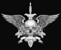 Skull Wings Crossed Guns