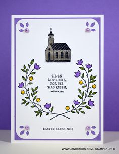 Gift of Hope Easter Card - JanB Cards Easter Cards Religious, Easter Greeting Cards, Fun Fold Cards, Diy Cards, Handmade Cards, Make Your Own Card, Stamping Up Cards, Flower Cards, Gift Of Hope