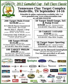 The Gamaliel Cup is one of the biggest sporting clays events in the country, with more than $20,000 in prize money. This year it's moving to the beautiful hills of Tennesee! Whether you're ready to bump up into Master Class or you've never shot more than a round of skeet or trap, this is a great shoot to attend. Gamaliel Cup Fall Shoot 2012  Gun Digest is the No. 1 source for information on the shooting sports and firearms industry. We know guns so you know guns! Trap Shooting, Shooting Sports, Small Gauges, Sporting Clays, Online Registration, Things To Know, Master Class, Knowing You, Fundraising Ideas