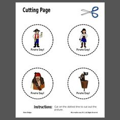 Cutting Shapes : We used this to work on pre-writing skills while also targeting a target speech sound or sound of the week. I laminated this sheet or put in a sheet protector for use at the writing center, easel, or during transitions. Cutting Activities, Work Activities, Motor Activities, Scissor Practice, Scissor Skills, Pirate Day, Pirate Theme, Pre Writing, Writing Skills