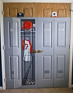 Boys room closet painted to look like locker for sports theme bedroom. Original was builders standard white folding closet.