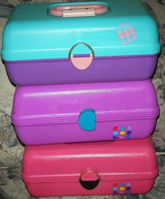 Caboodles! Still have mine. The purple one in the middle, use it every day.