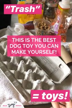 A DIY Busy Box enrichement toy is a great way to keep your bored dog busy! Put together a homemade puzzle toy to challenge and tire out your dog. Diy Dog Toys, Best Dog Toys, Diy Dog Treats, Dog Treat Recipes, Easy Recipes, Toys For Bored Dogs, Dog Popsicles, Dog Toy Box, Dog Enrichment