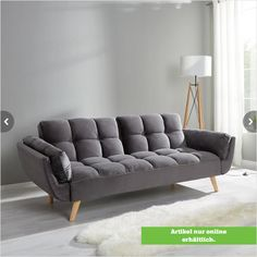 This article is available ONLY ONLINE! This stylish gray sofa bed is cozy and comfortable - day and night! The sofa with a velvet cover is softly padded and equipped with attractive wooden feet. Stylish Sleeping, Sofa Design, Stylish Sofa Bed, Stylish Sofa, Gray Sofa, Sofa, Furniture, Modern Sofa, Modern Sofa Designs