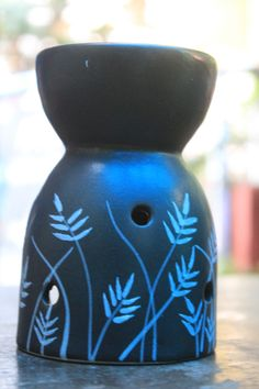 carved black stone candle diffuser