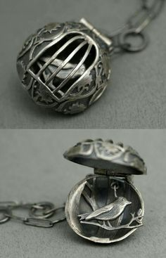 Птичка в клетке от Rebecca Fargher bird in a cage round pendant / layuered locket oxidised silver details cute necklace Cute Jewelry, Jewelry Art, Silver Jewelry, Jewelry Accessories, Jewelry Necklaces, Jewelry Design, Unique Jewelry, Silver Ring, Silver Earrings