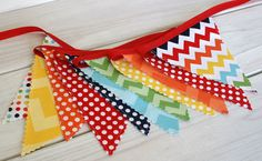 Birthday Decoration Colorful Bunting Fabric Banner Flags - Rainbow Chevron and Dots - Ready to Ship