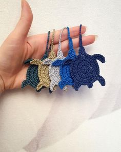 Sea Turtle crochet tags sea animals crochet by EstersDoilies