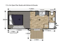 Looking for an open plan self contained studio unit with kitchen and ensuite. Check out our portable home options available here at HouseMe Portable Cabins, Holiday Park, Plan Design, Open Plan, Tiny House, Floor Plans, The Unit, Windows, How To Plan