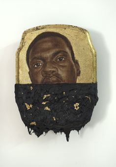 An image from The Jerome Project (All images courtesy of ) Titus Kaphar.  Incarcerated African Americans portrayed in iconostasis style with black tar markings