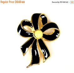 Vintage Black Cream Enamel Ribbon Brooch by TheFashionDen on Etsy
