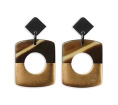 Dalva Hermes buffalo horn and gold leaf earrings in dreamgold