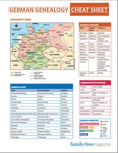 German Genealogy Cheat Sheet You'll want to keep this at-a-glance genealogy reference close at hand. The German Genealogy Cheat Sheet is designed to quickly deliver the information you need to understand the records of your German ancestors. Genealogy Sites, Genealogy Research, Family Genealogy, Genealogy Chart, Genealogy Humor, Genealogy Forms, Family Tree Research, Genealogy Organization, All Family
