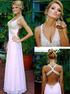 V-neck Beading Prom Dresses,Long Chiffon Prom Dresses,White Backless Evening Dresses #promdresses #SIMIBridal