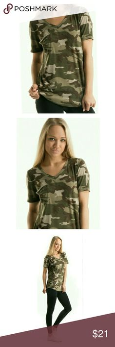 New! Camouflage Tee Shirt Soft, fabric tee shirt. (97% polyester and 3% spandex blend.) Soft and comfortable. Great to sleep in, causal, on the go, and going out!   V-neck, short-sleeved t-shirt with front pocket. Olive green/camouflage color.  Brand New! Excellent Condition!!  Bundle  to save! ????? Tops Tees - Short Sleeve