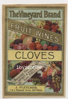 Label J Fletcher Southsea Fruit Wines advert pictorial drinks portsmouth Fruit Of The Spirit, Portsmouth, Bottle Labels, Vintage Ads, Wines, Vineyard, Bottles, Vine Yard, Vineyard Vines