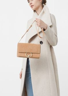 Leather flap bag   MANGO