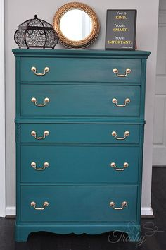 Glamorous Painted Chest of Drawers. From bland to GLAM! http://imsotrashy.com/glamorous-chest-of-drawers/