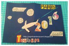 L'esprit vient en jouant: Carte de vœux avec un objet qui se déplace (avion,...