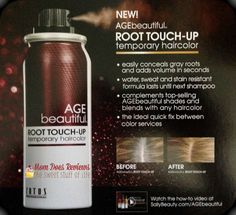 AGEbeautiful Root Touch-Up Spray anti-aging temporary haircolor quickly & easily conceals gray roots in seconds. Does your hair grow out too fast between colorings?  I know mine does!  My roots ALWAYS need touch-up before the rest of my hair...