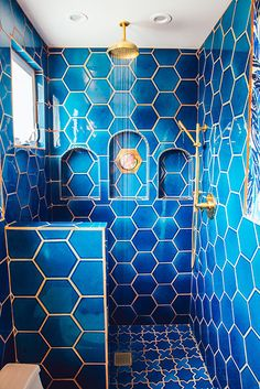 Welcome to the Jungalow: Justina Blakeney's Deep Blue Masterbath Fireclay Tile Bathroom Interior Design, Interior Exterior, Home Interior, Estilo Interior, Bathroom Installation, Master Bathroom, Bathroom Renos, Tile Bedroom, Tile Bathrooms