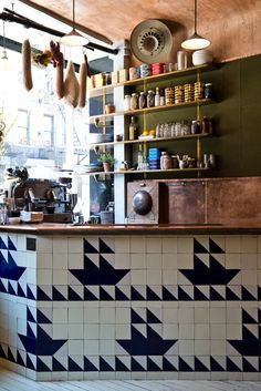 Cool tiling idea...Navy NYC | New York