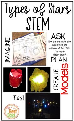 This Star STEM is the perfect way for grade, grade, grade, and grade students to explore the difficult concept of distance in the night sky. This astronomy activity has students create models that explore 4 types of stars and then test th Star Science, Primary Science, Easy Science, Elementary Science, Teaching Science, Upper Elementary, Space Activities For Kids, Moon Activities, Science Activities