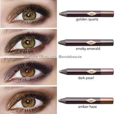 Charlotte Tilbury eyeshadow pencil swatches. Love the pigmentation and they last all day. A bit pricey, but worth it!